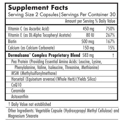 Dermera Skin Vitamins - Supplement Facts